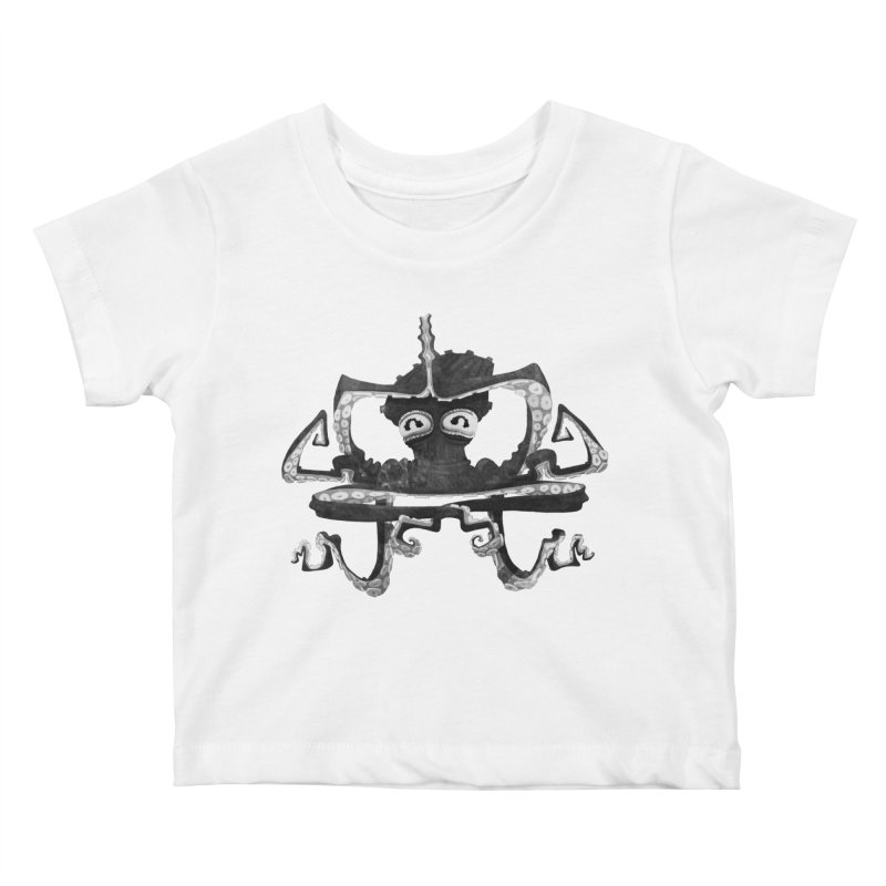 octovasana. black on white Kids Baby T-Shirt by Skrowl's Artist Shop