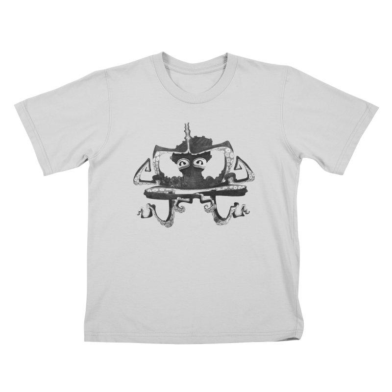 octovasana. black on white Kids T-Shirt by Skrowl's Artist Shop