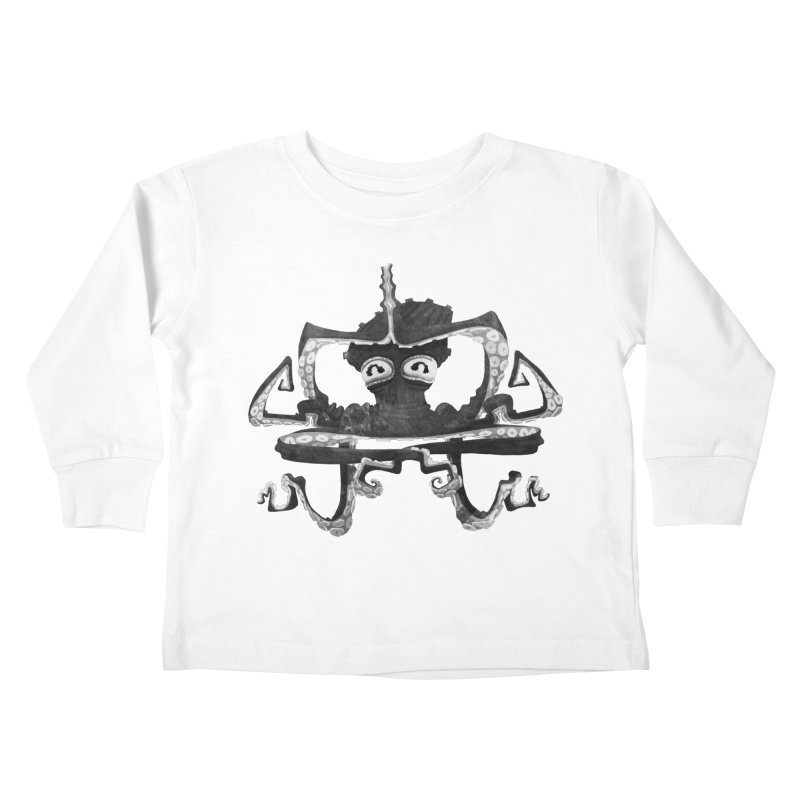 octovasana. black on white Kids Toddler Longsleeve T-Shirt by Skrowl's Artist Shop