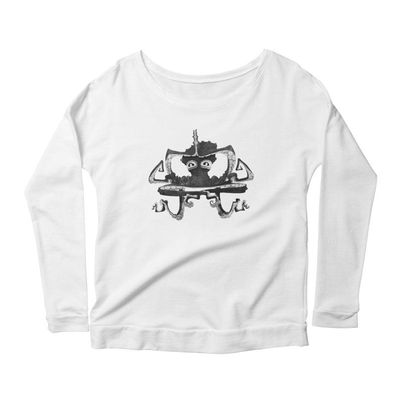 octovasana. black on white Women's Scoop Neck Longsleeve T-Shirt by Skrowl's Artist Shop