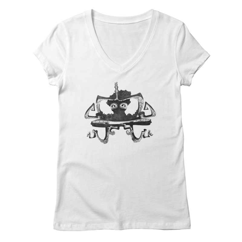 octovasana. black on white Women's Regular V-Neck by Skrowl's Artist Shop