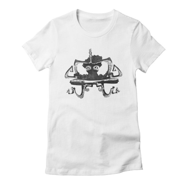 octovasana. black on white Women's T-Shirt by Skrowl's Artist Shop