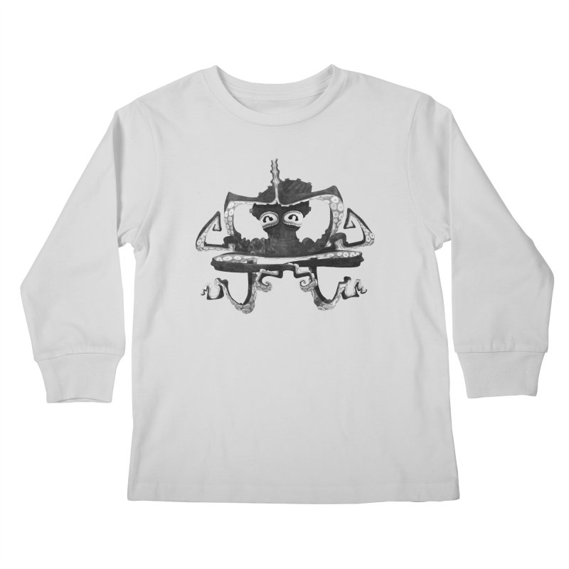 octovasana. black on white Kids Longsleeve T-Shirt by Skrowl's Artist Shop