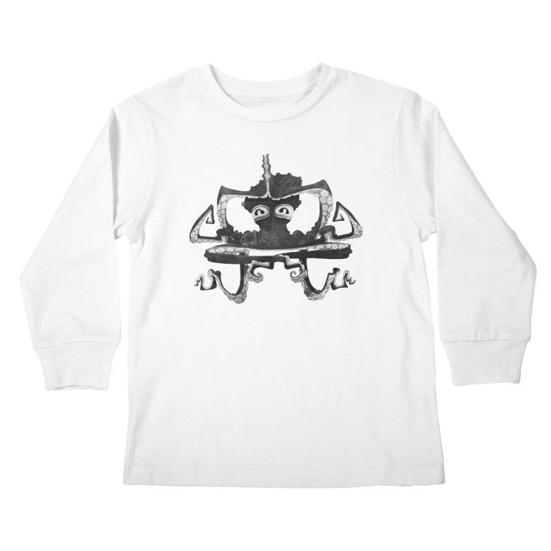octovasana. black on white Kids Longsleeve T-Shirt by Skrowl's Artist Shop
