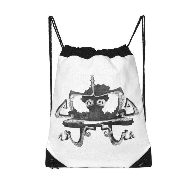 octovasana. black on white Accessories Drawstring Bag Bag by Skrowl's Artist Shop