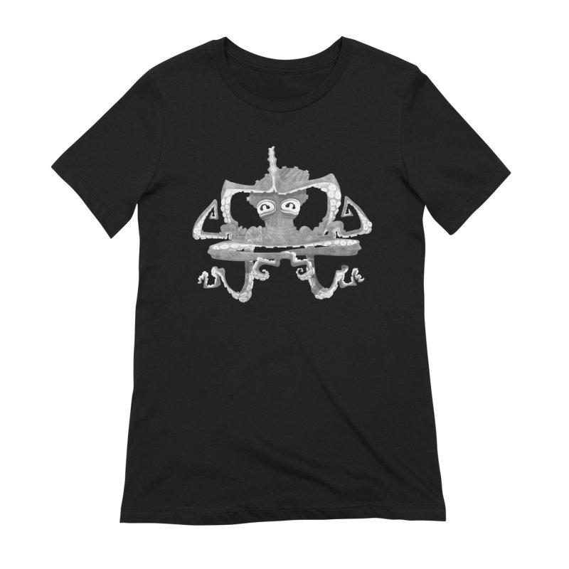 octovasana. white on black Women's Extra Soft T-Shirt by Skrowl's Artist Shop