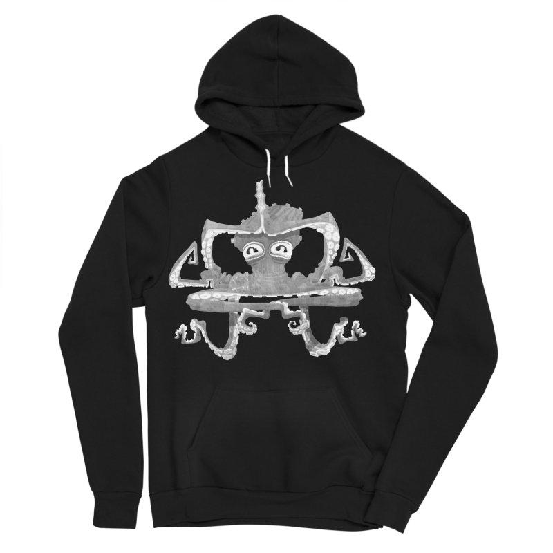 octovasana. white on black Men's Sponge Fleece Pullover Hoody by Skrowl's Artist Shop