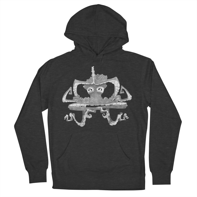 octovasana. white on black Men's French Terry Pullover Hoody by Skrowl's Artist Shop