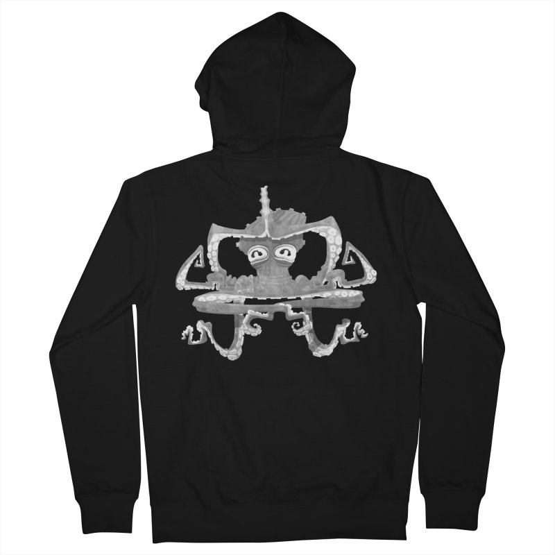 octovasana. white on black Women's French Terry Zip-Up Hoody by Skrowl's Artist Shop