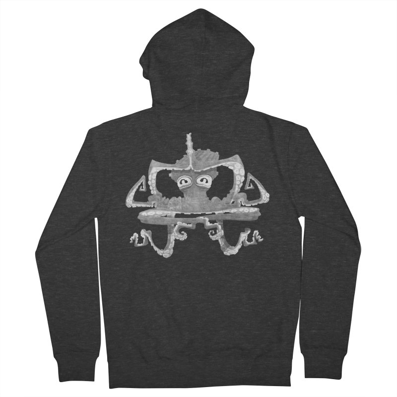 octovasana. white on black Men's French Terry Zip-Up Hoody by Skrowl's Artist Shop