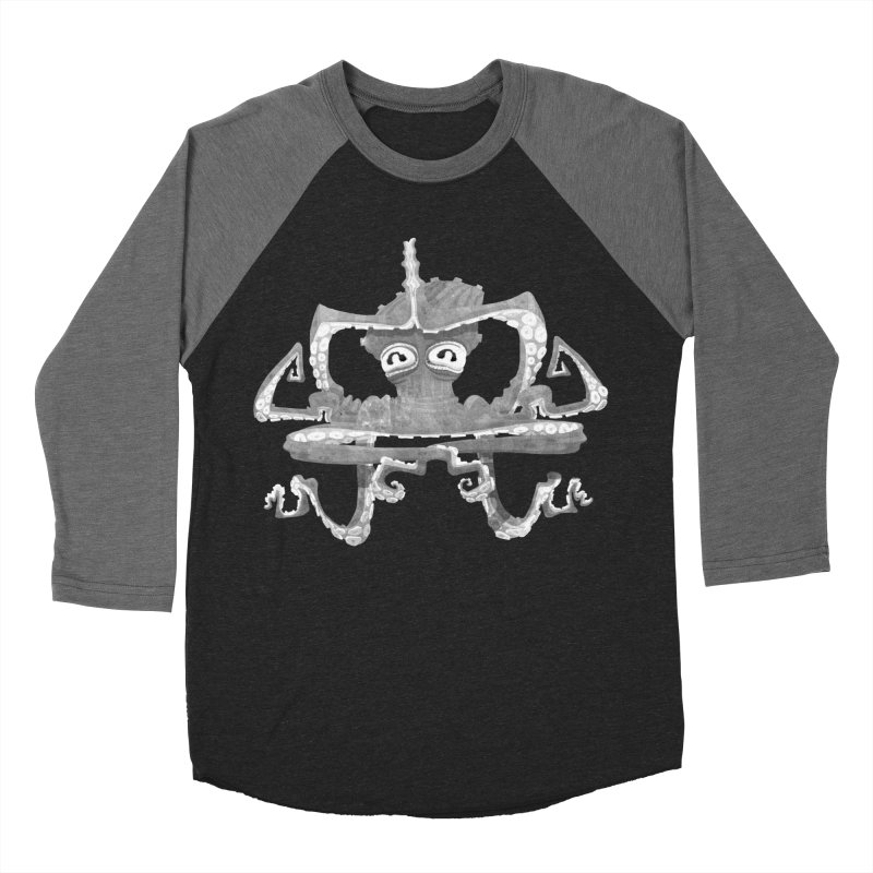 octovasana. white on black Men's Baseball Triblend Longsleeve T-Shirt by Skrowl's Artist Shop