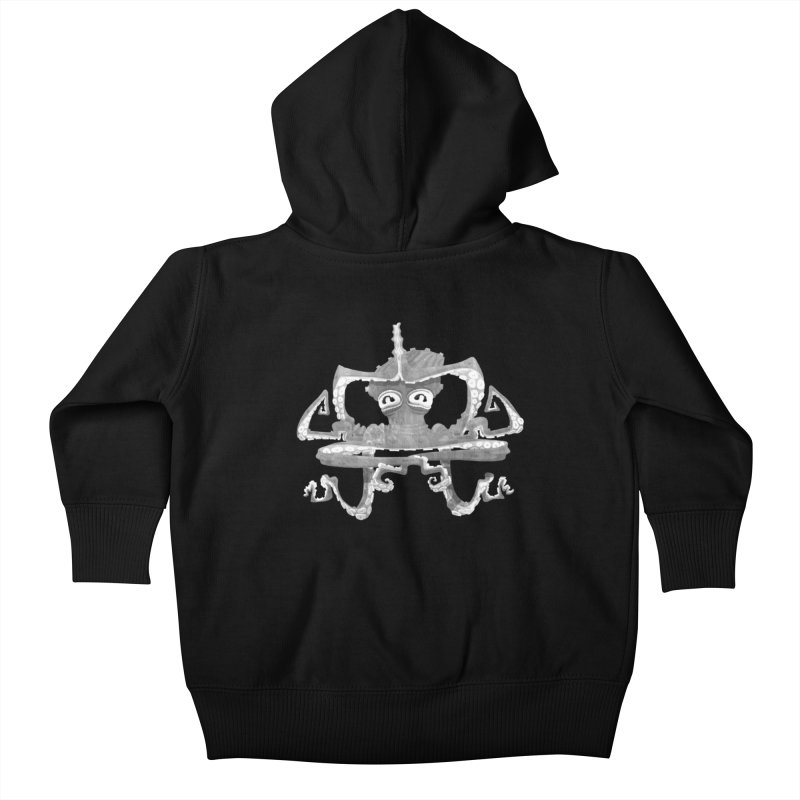 octovasana. white on black Kids Baby Zip-Up Hoody by Skrowl's Artist Shop