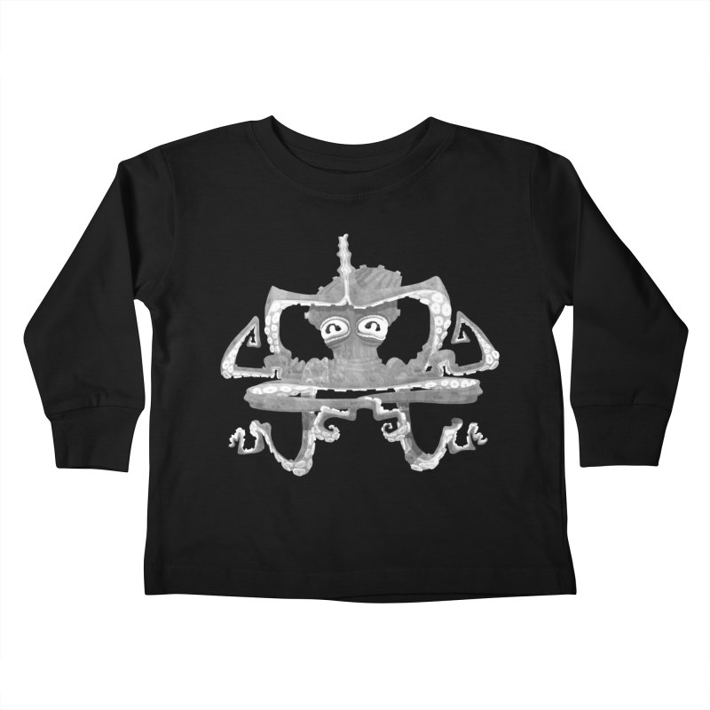 octovasana. white on black Kids Toddler Longsleeve T-Shirt by Skrowl's Artist Shop