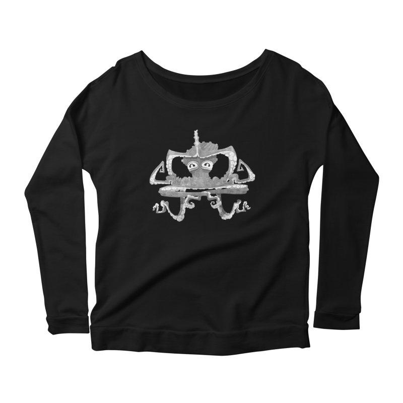 octovasana. white on black Women's Scoop Neck Longsleeve T-Shirt by Skrowl's Artist Shop