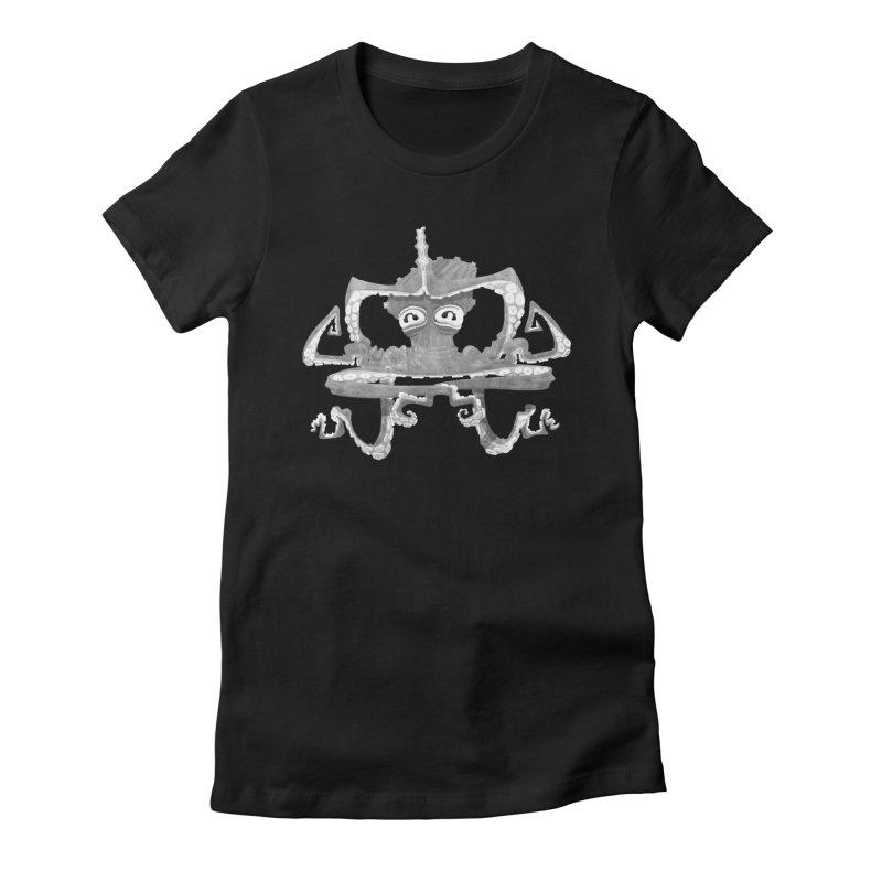 octovasana. white on black Women's Fitted T-Shirt by Skrowl's Artist Shop