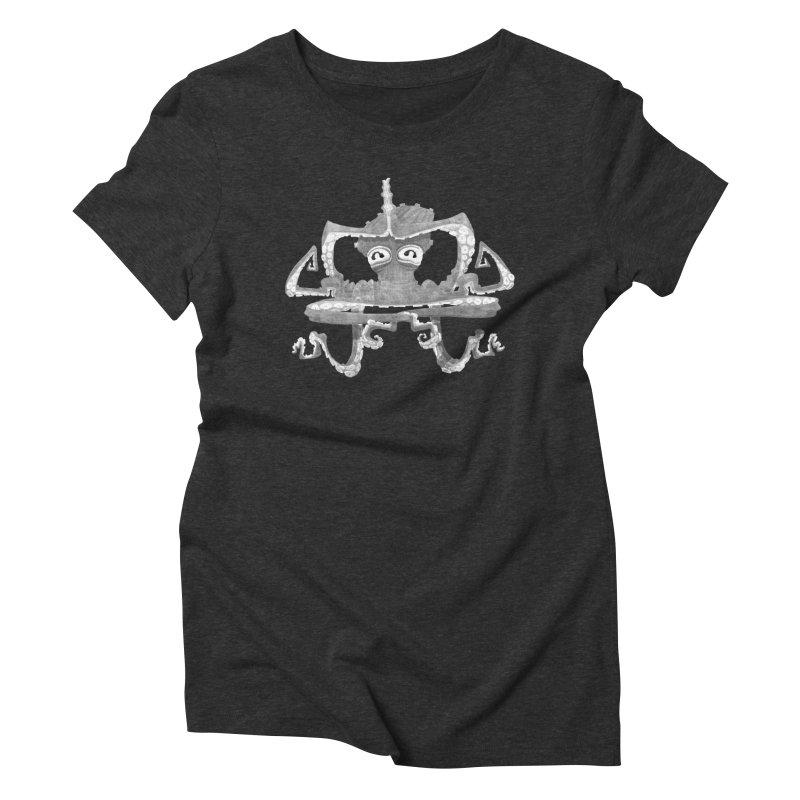 octovasana. white on black Women's Triblend T-Shirt by Skrowl's Artist Shop