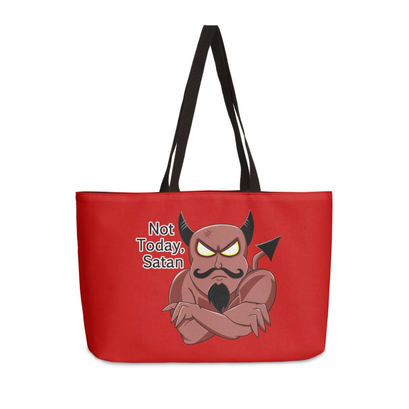 Not Today, Satan Accessories Weekender Bag Bag by Slightly Animated Merch