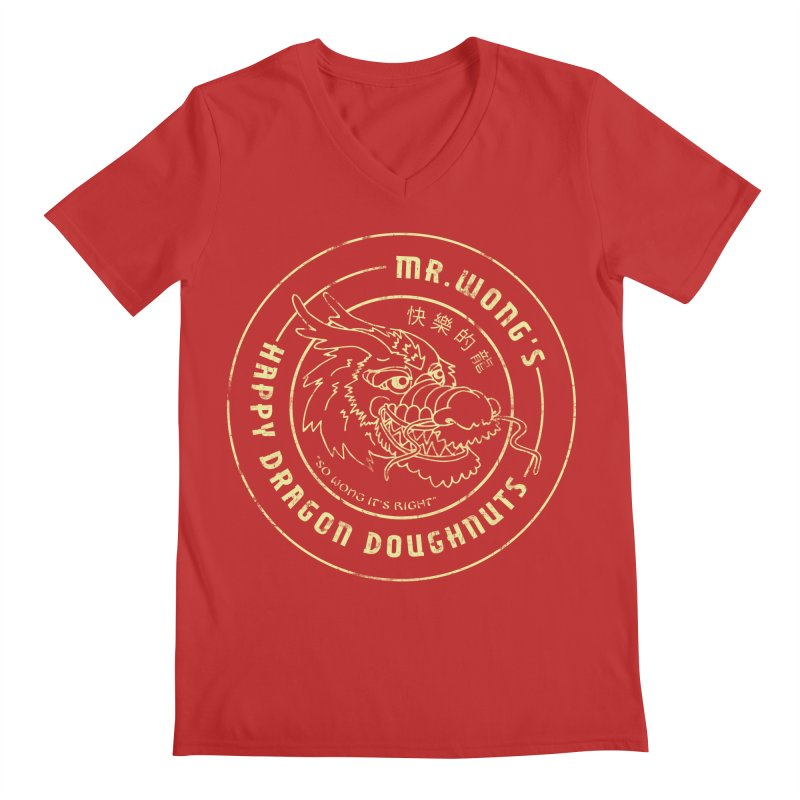 Mr. Wong's Happy Dragon Doughnuts Men's V-Neck by Slothfox Apparel by Trenn