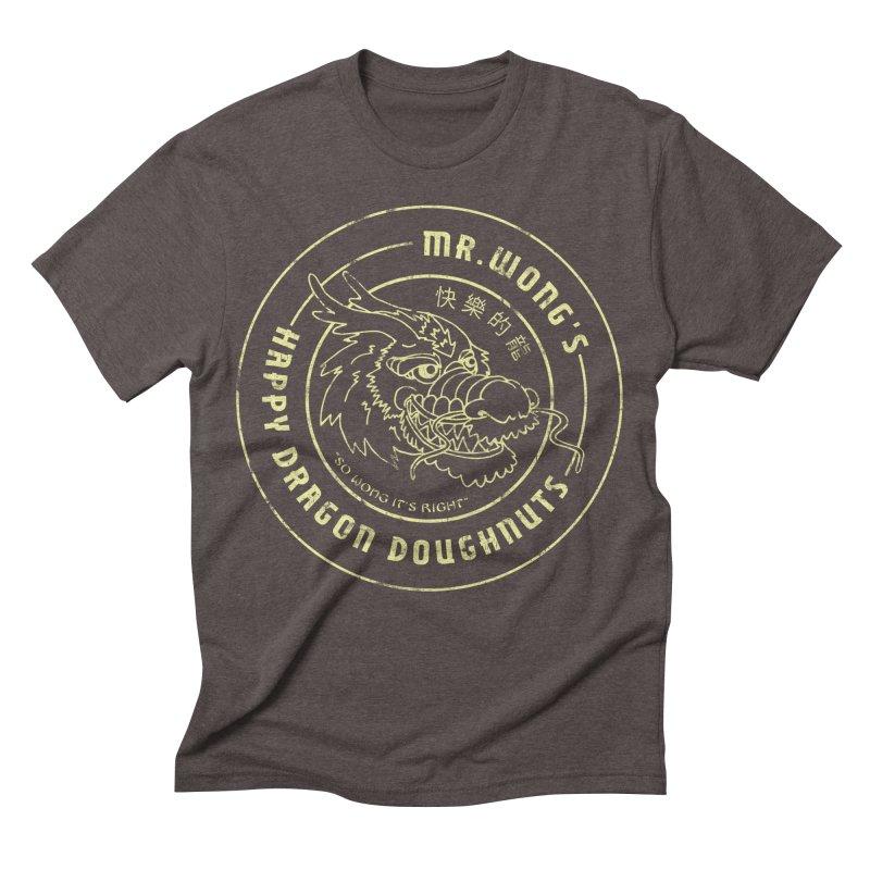 Mr. Wong's Happy Dragon Doughnuts Men's Triblend T-shirt by Slothfox Apparel by Trenn