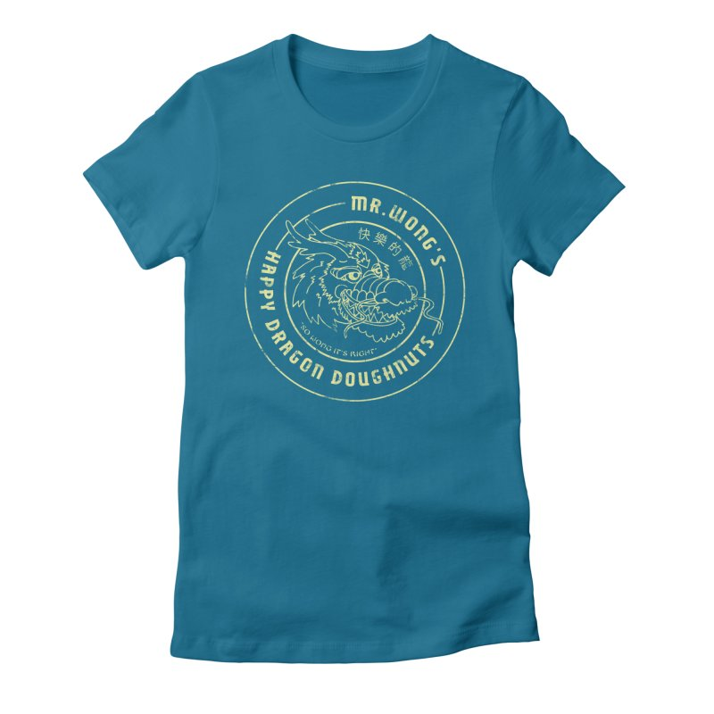 Mr. Wong's Happy Dragon Doughnuts Women's Fitted T-Shirt by Slothfox Apparel by Trenn