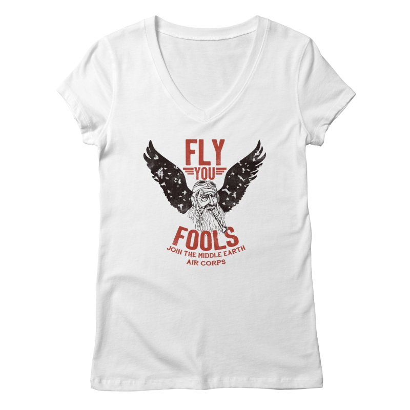 Middle Earth Air Corps Women's V-Neck by Slothfox Apparel by Trenn