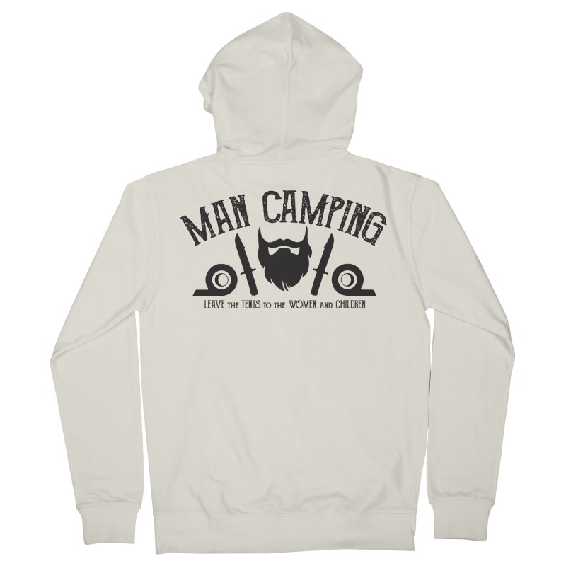 MAN CAMPING! Men's Zip-Up Hoody by Slothfox Apparel by Trenn