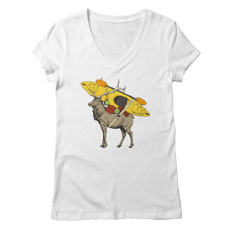 You Had to Bring the Kayak? Women's V-Neck by Slothfox Apparel by Trenn