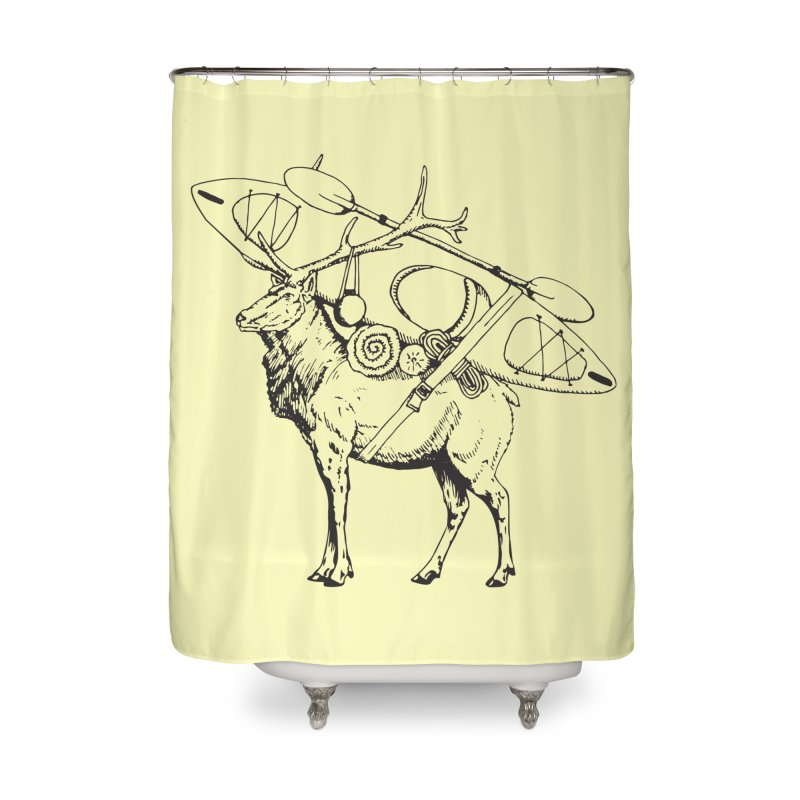 You Had to Bring the Kayak: Black Home Shower Curtain by Slothfox Apparel by Trenn