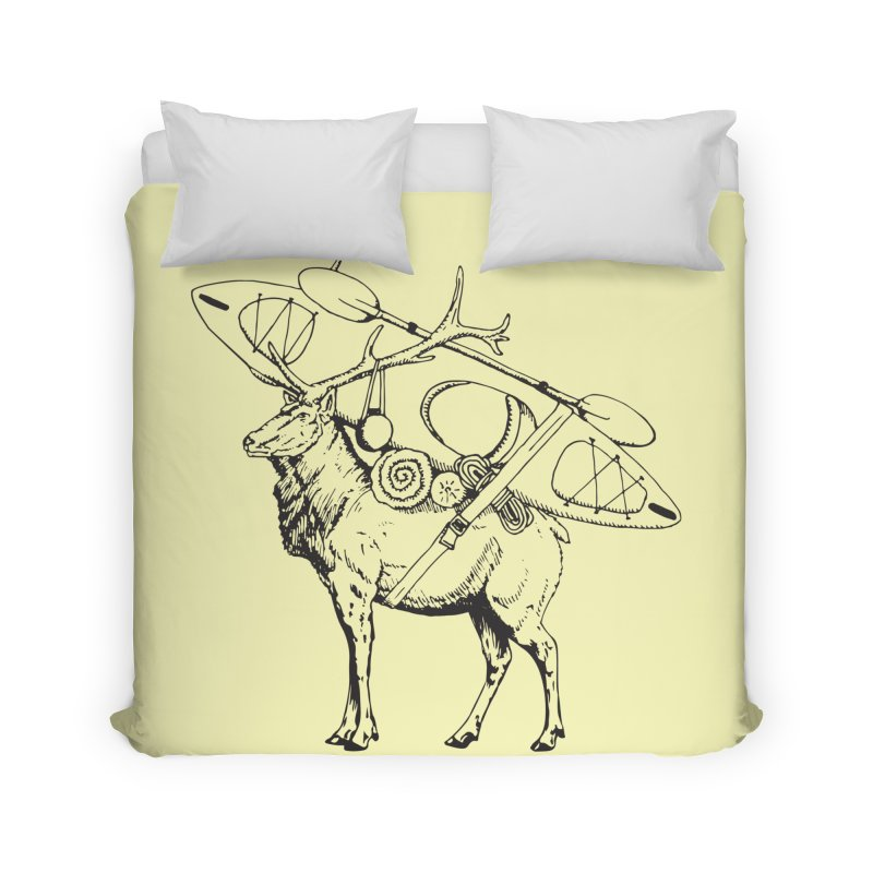 You Had to Bring the Kayak: Black Home Duvet by Slothfox Apparel by Trenn