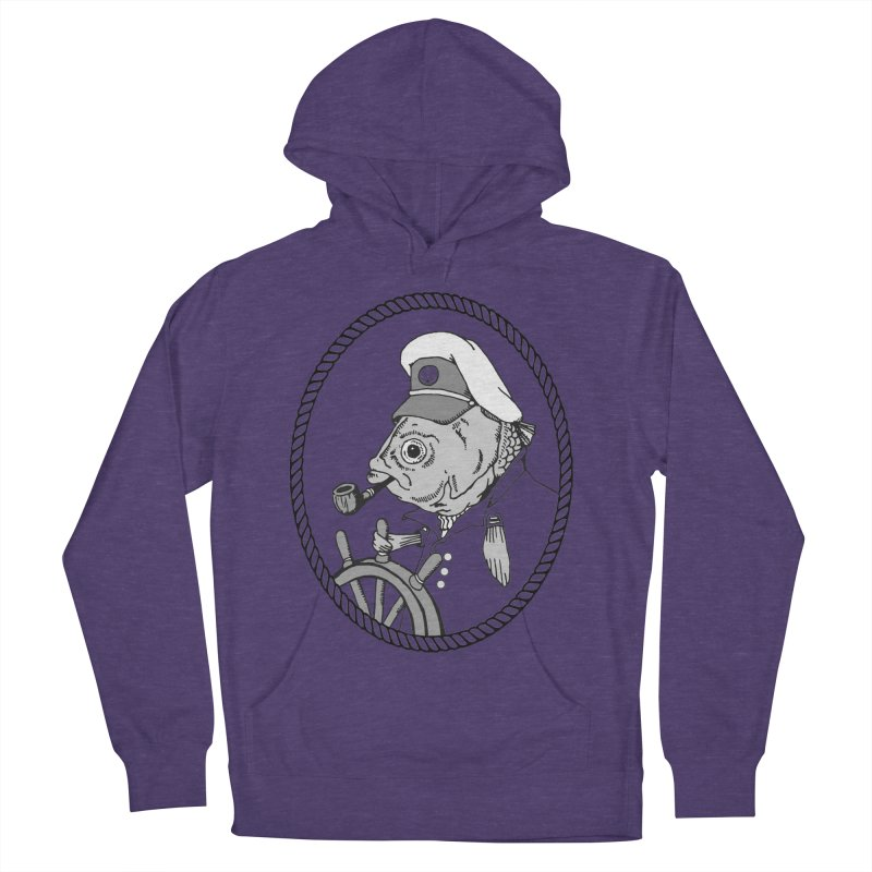 The Sea Captain: greyscale Men's Pullover Hoody by Slothfox Apparel by Trenn