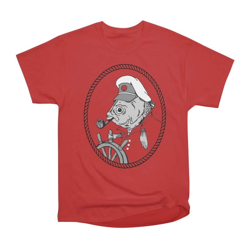 The Sea Captain: greyscale Men's Heavyweight T-Shirt by Slothfox Apparel by Trenn