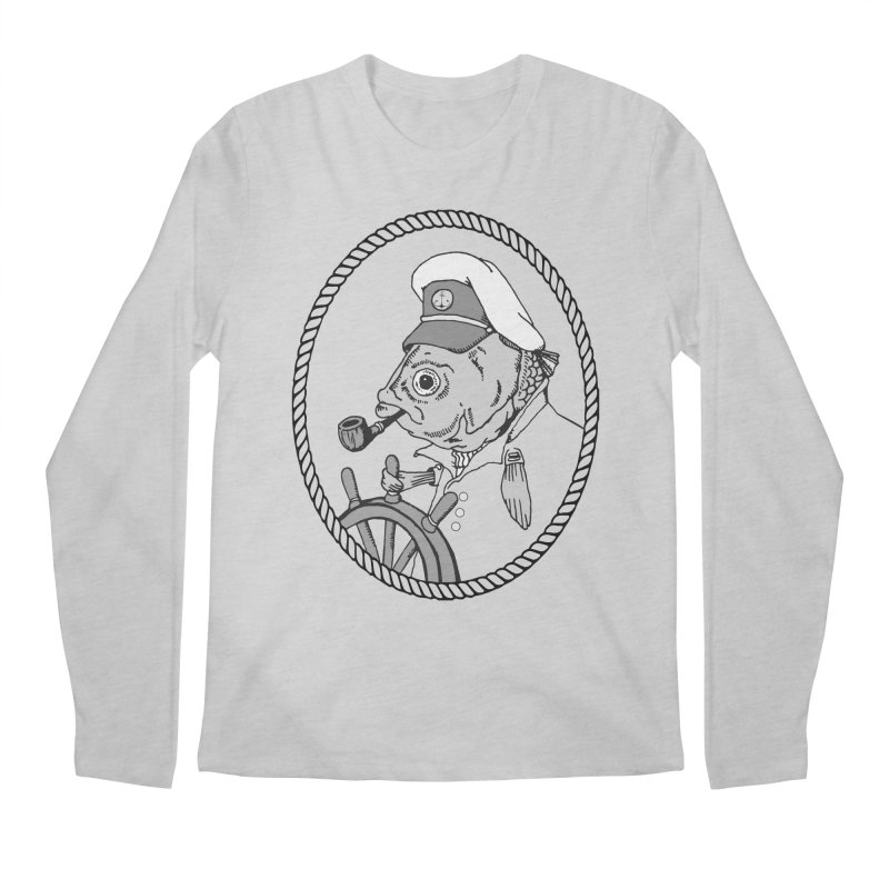 The Sea Captain: greyscale Men's Longsleeve T-Shirt by Slothfox Apparel by Trenn
