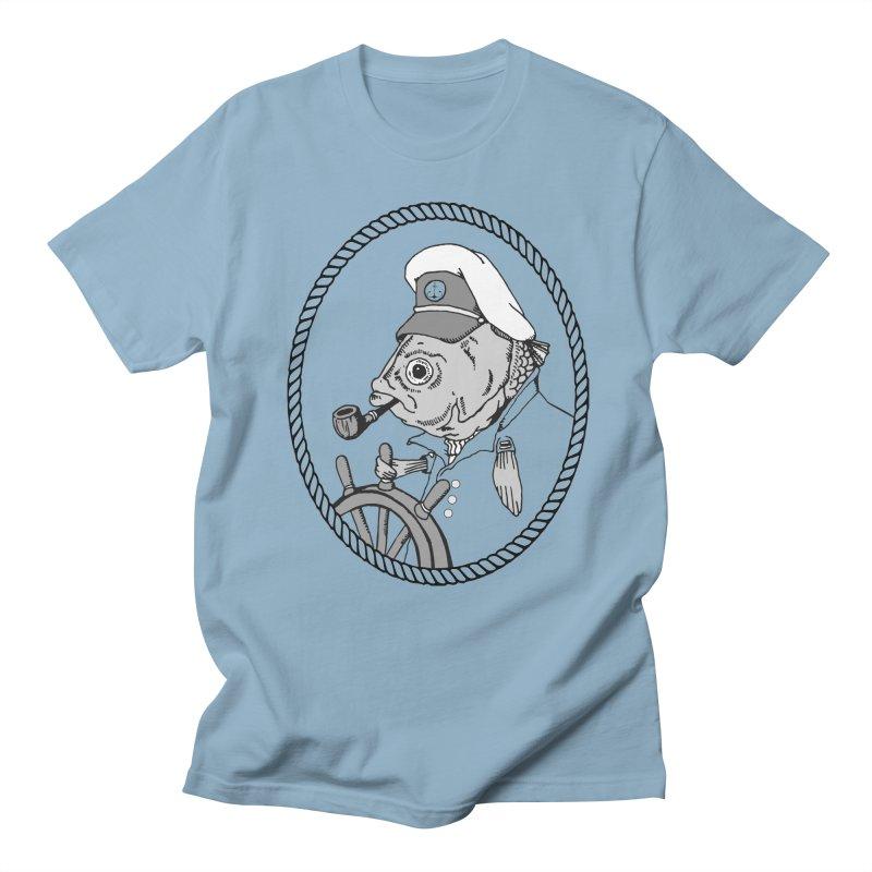 The Sea Captain: greyscale Men's T-shirt by Slothfox Apparel by Trenn