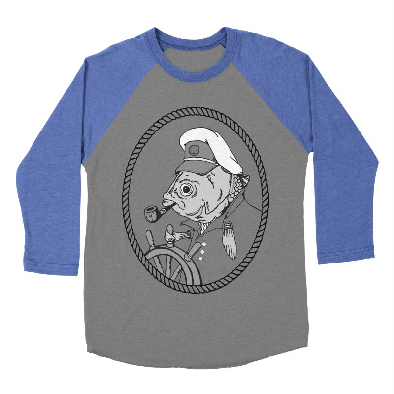 The Sea Captain: greyscale Men's Baseball Triblend T-Shirt by Slothfox Apparel by Trenn