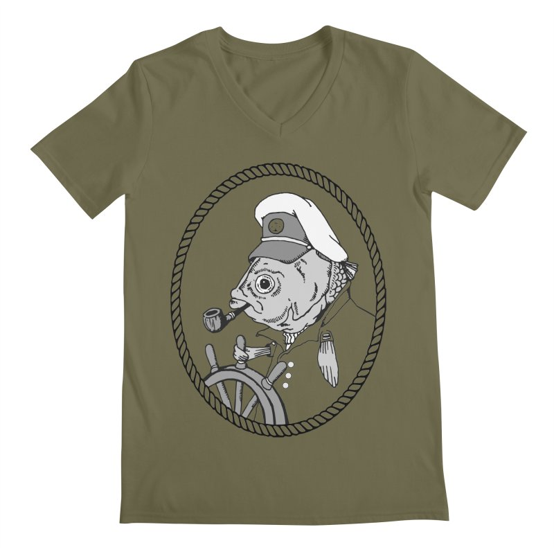 The Sea Captain: greyscale Men's V-Neck by Slothfox Apparel by Trenn