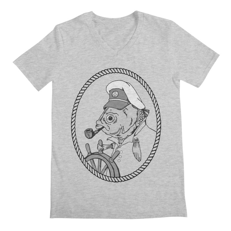 The Sea Captain: greyscale Men's V-Neck by Slothfox Apparel by Trenn