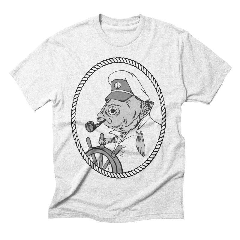 The Sea Captain: greyscale Men's Triblend T-shirt by Slothfox Apparel by Trenn