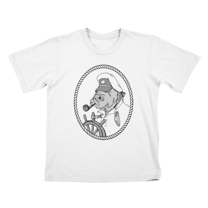 The Sea Captain: greyscale Kids T-Shirt by Slothfox Apparel by Trenn