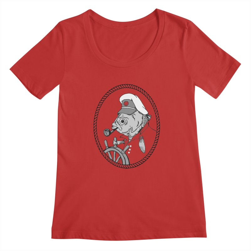 The Sea Captain: greyscale Women's Scoopneck by Slothfox Apparel by Trenn