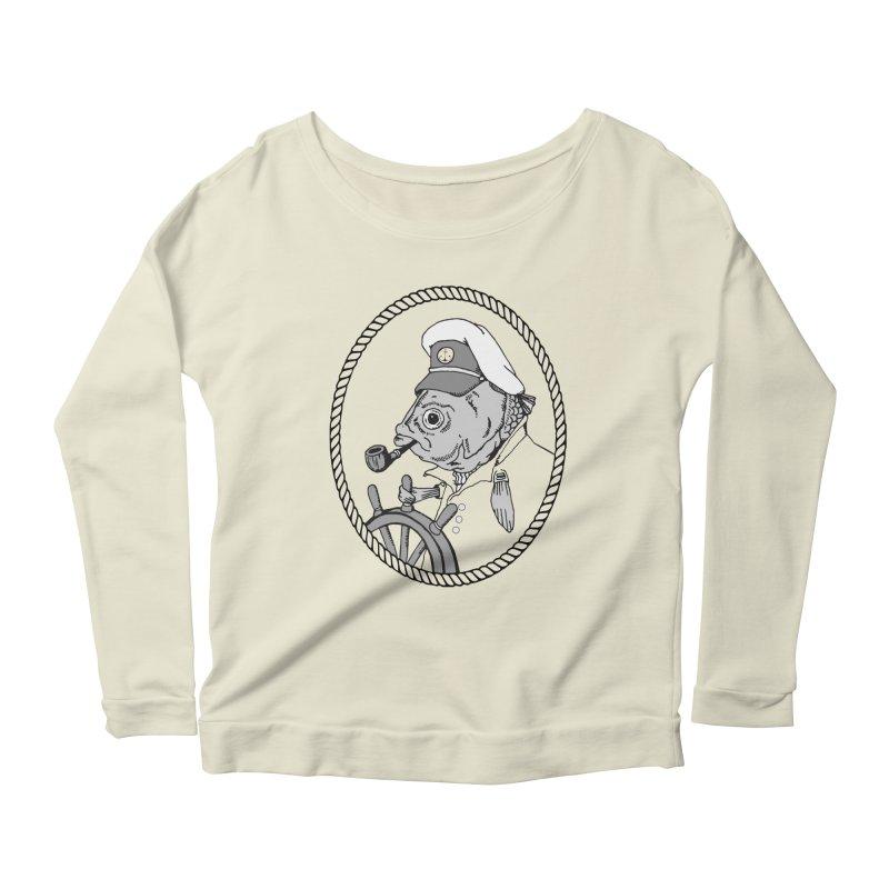 The Sea Captain: greyscale Women's Longsleeve Scoopneck  by Slothfox Apparel by Trenn