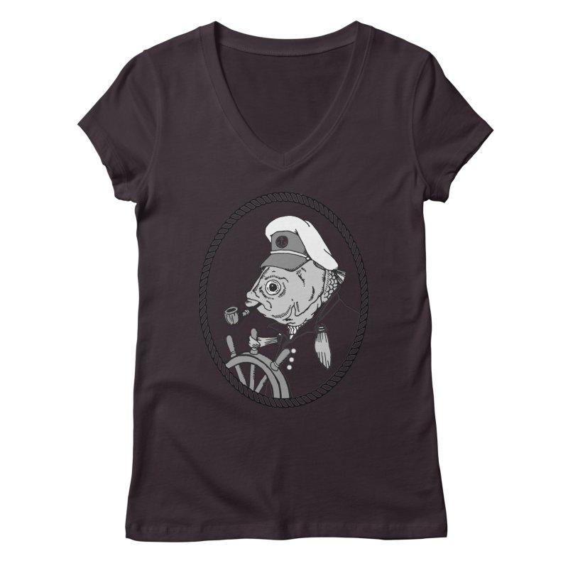 The Sea Captain: greyscale Women's V-Neck by Slothfox Apparel by Trenn