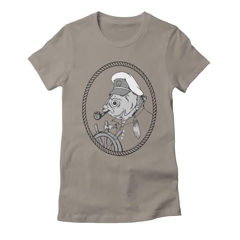 The Sea Captain: greyscale Women's Fitted T-Shirt by Slothfox Apparel by Trenn
