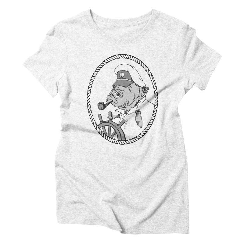 The Sea Captain: greyscale Women's Triblend T-shirt by Slothfox Apparel by Trenn