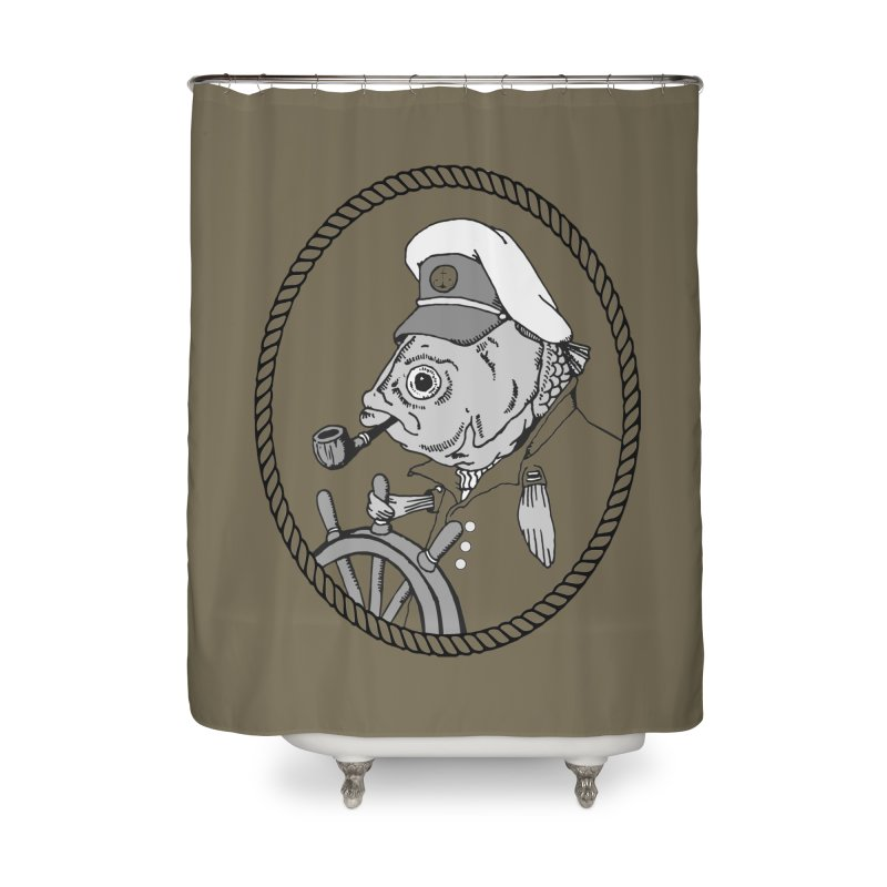 The Sea Captain: greyscale Home Shower Curtain by Slothfox Apparel by Trenn