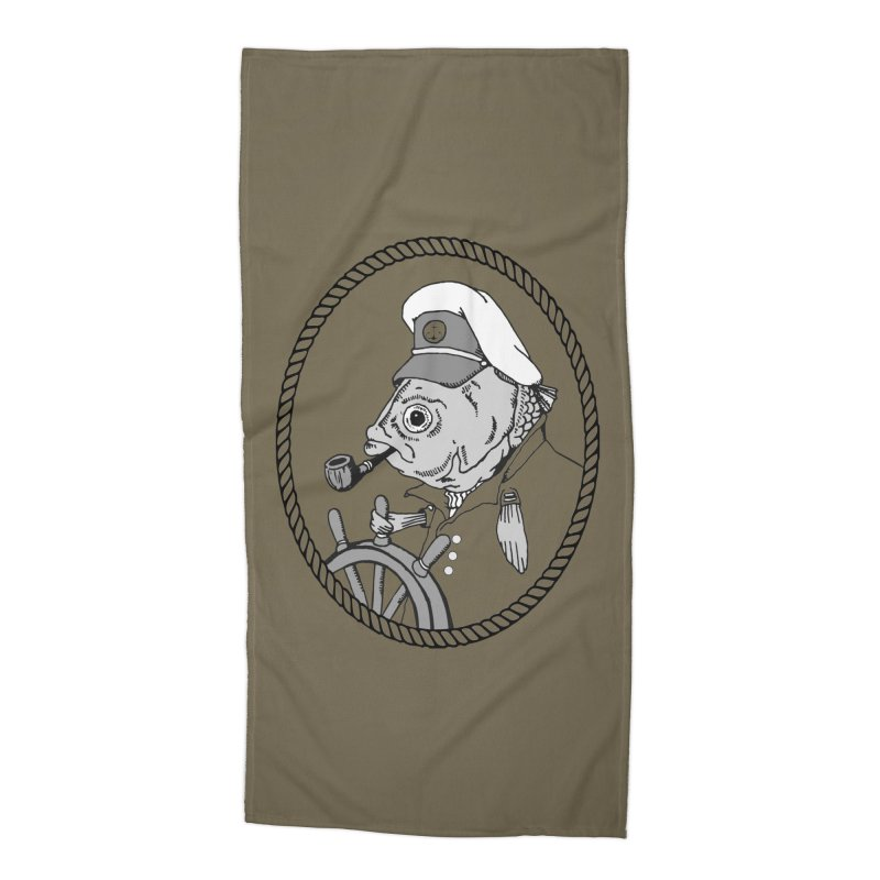 The Sea Captain: greyscale Accessories Beach Towel by Slothfox Apparel by Trenn