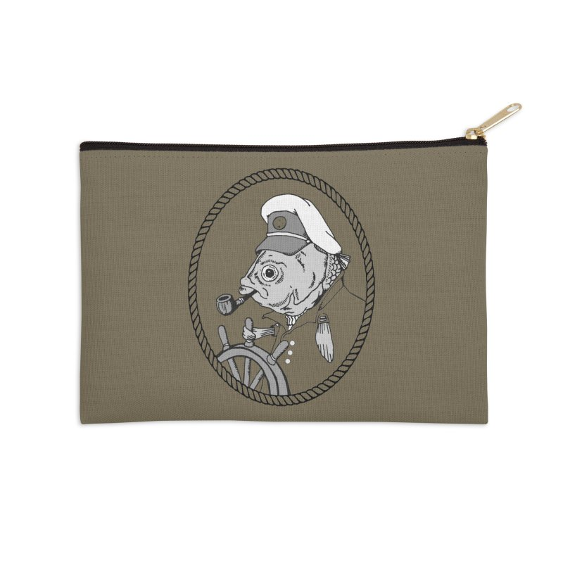 The Sea Captain: greyscale Accessories Zip Pouch by Slothfox Apparel by Trenn