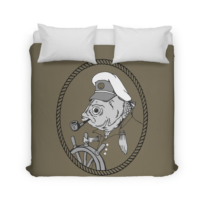 The Sea Captain: greyscale Home Duvet by Slothfox Apparel by Trenn