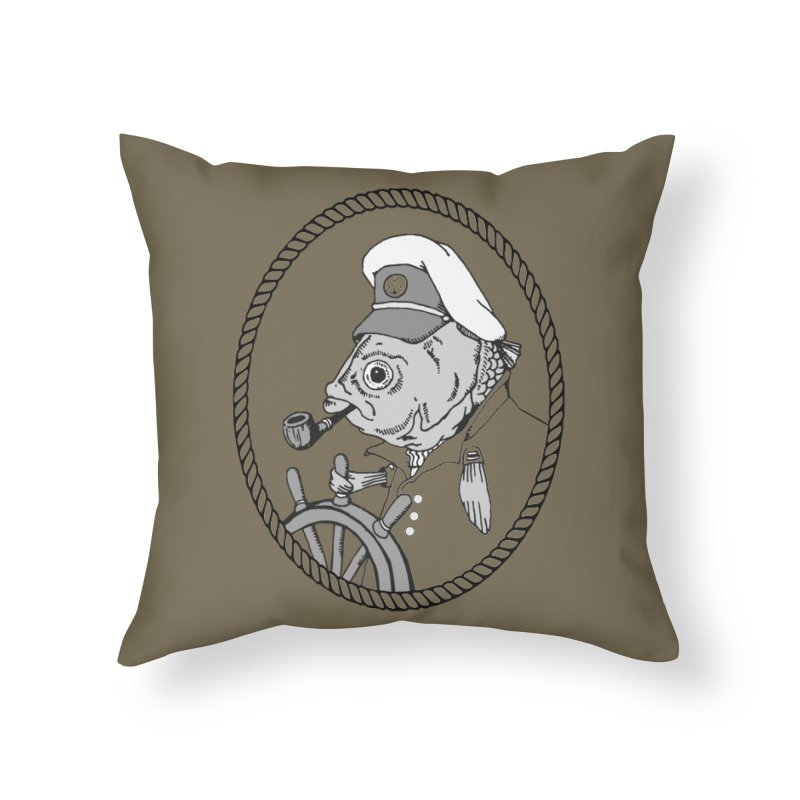 The Sea Captain: greyscale Home Throw Pillow by Slothfox Apparel by Trenn
