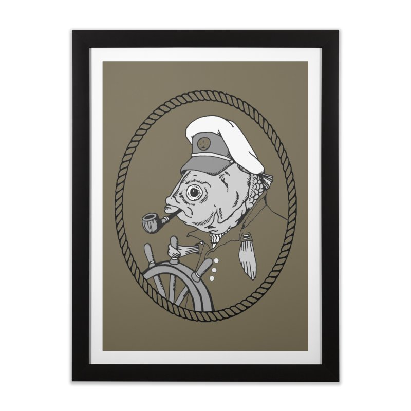 The Sea Captain: greyscale Home Framed Fine Art Print by Slothfox Apparel by Trenn