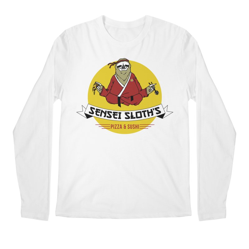 Sensei Sloth's Pizza & Sushi Men's Longsleeve T-Shirt by Slothfox Apparel by Trenn